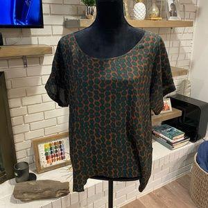 Silk Blouse by Gemma, EUC, medium copper/green